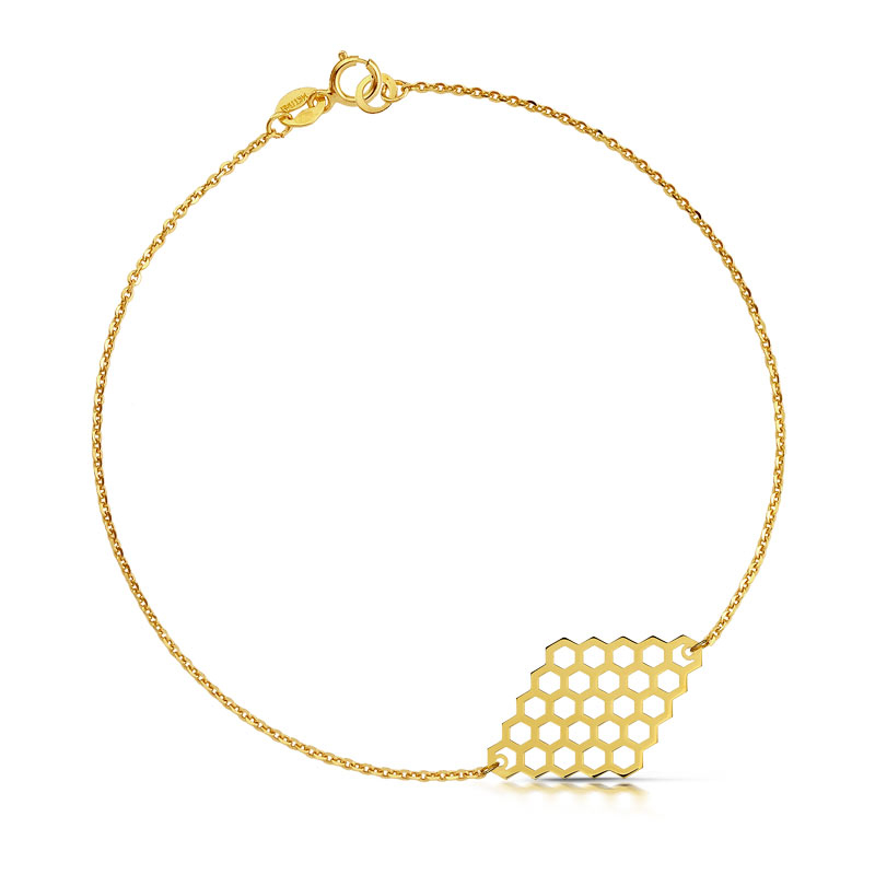 Bransoletka złota - Plaster Miodu Romb c147
