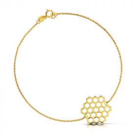 Bransoletka złota - Plaster Miodu Sześciobok c151