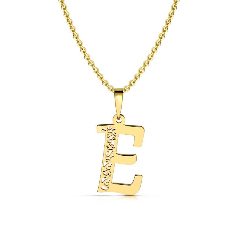 Litera złota E ażurowa