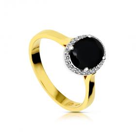 Złoty pierścionek z onyksem i cyrkoniami