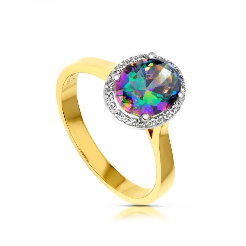 Złoty pierścionek mystic topaz i cyrkonie