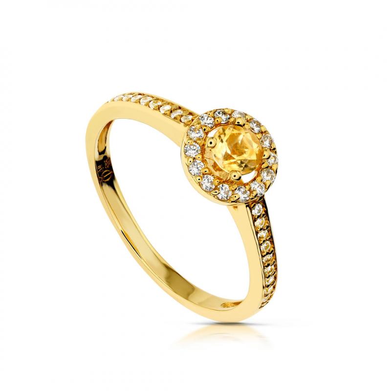 Złoty pierścionek z cytrynem i cyrkoniami