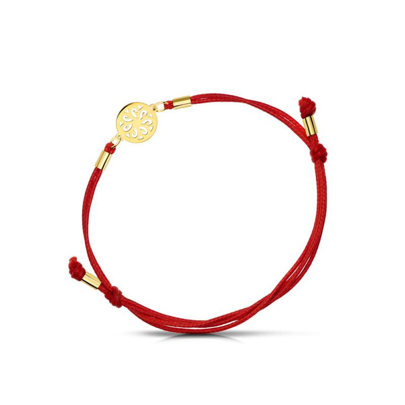 Bransoletka złota na sznurku ażurowe kółko