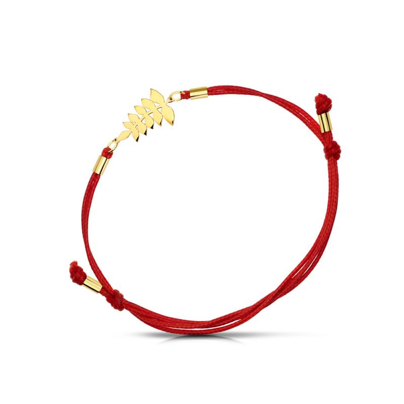 Bransoletka złota na sznurku Liść Jesionu