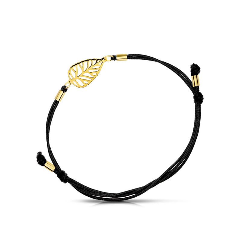 Bransoletka złota na sznurku Topola