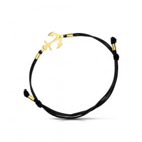 Bransoletka złota na sznurku Kotwica